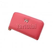Cute Bowknot Women Long Wallet - Rose Red
