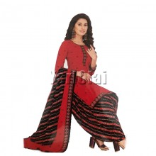 Kundan Salwar With Shole Red & Black
