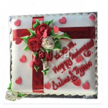 Square Cake With Hearts and Roses