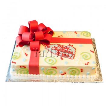 Square Gift Ribbon Cake