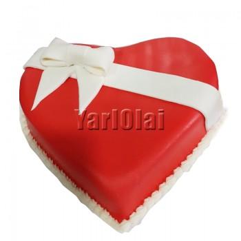 Wrapped With Love heart Shape cake