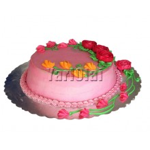 Pure Pink Circle cake with Roses