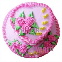 Pink Heart on Circle Cake