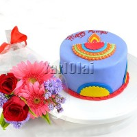 Light Up Pongal Cake (Free Flower Bunch)