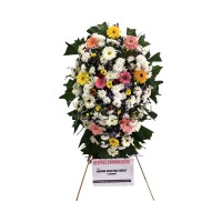 Mix Colour Flower Wreath - L