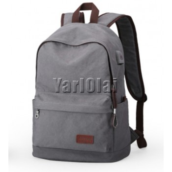 Canvas Back Bag With USB - Gray