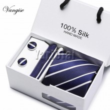 New Plaid Mens Ties Set - Dark Blue