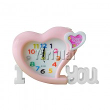 I Love You Heart Clock - Pink