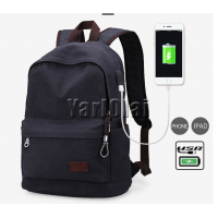 Canvas Back Bag With USB - Black