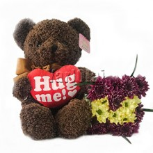 Hug Me Teddy With Flowers
