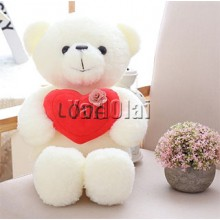 Large Love Heart White Teddy