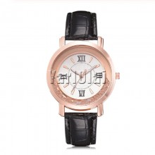 Rhinestone Leather Wristwatch Black
