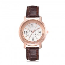 Rhinestone Leather Wristwatch Brown