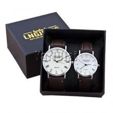 2pcs Fashion Couple High Gloss Glass Leather  Watch