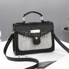 PU Leather Small Flap Women Shoulder Bag -Black