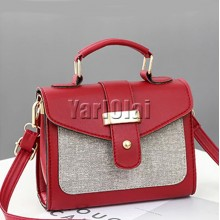 PU Leather Small Flap Women Shoulder Bag -Red
