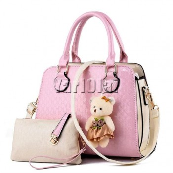 Fashion PU Patent Leather Women Shoulder Bags - Pink