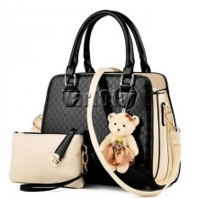 Fashion PU Patent Leather Women Shoulder Bags - Black