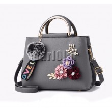 Color flowers Handbag - Gray