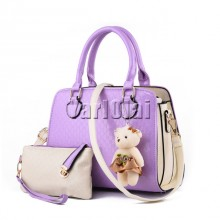 Fashion PU Patent Leather Women Shoulder Bags - Purple