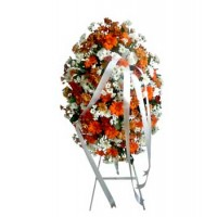 Funeral Wreath with orange mix flower