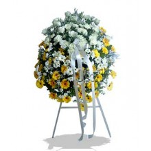 Two Color Gerberas Funeral Wreath