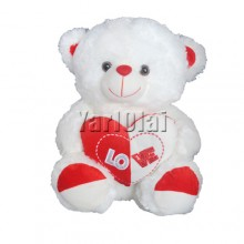 White and Red Heart Teddy
