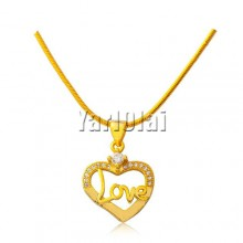 Love Heart Pendant Necklace With Crystal Cubic Zircon