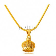 Crown Micropave Zirconia Pendant Necklace