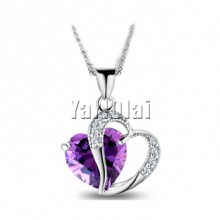 Purple Crystal Double Heart Pendant Necklace