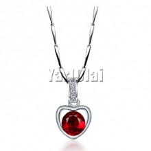 Heart Shape Red Zircon Pendant Necklace