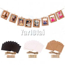 10 pcs Paper Photo Frame  With Wooden Clip
