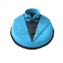 Black and Blue Round Shirt Cake