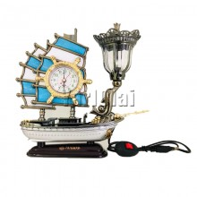Ship Table Lamp with Clock