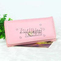 Women Wallets Heart Pattern Lady Purse Light Pink