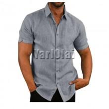 Short Sleeve Cotton Shirt- Grey